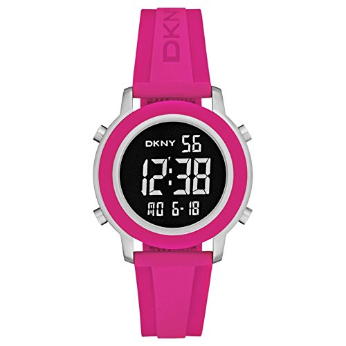 DKNY Women's 40mm Pink Rubber Band Steel Case Quartz Black Dial Digital Watch NY2324