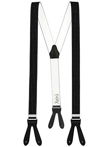 Hochwertige Hosenträger mit Lederriemen - Verfügbar in vielen Gestreiften / Punkte Design - Made in Germany (Schwarz Punkt)