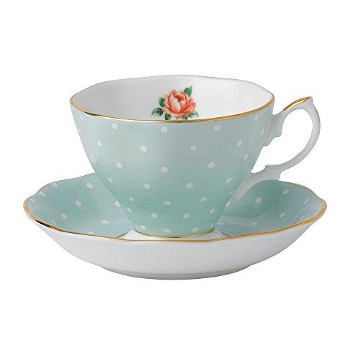 Royal Albert Polka Teacup & Saucer Set Polka Rose Royal Doulton Bone China