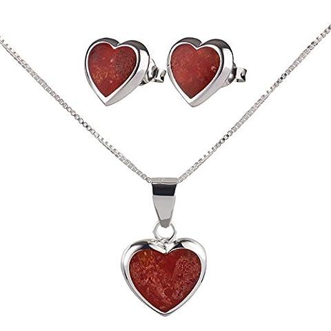 SL Collection Set Pendentif Cœur collier et boucles d'oreilles corail en argent sterling 925