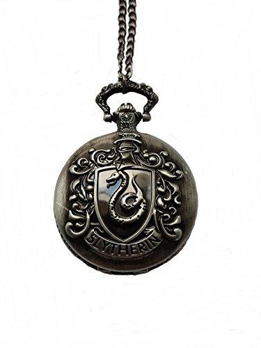 giulyscreations Collana Orologio Metallo Nichel Free Casa Serpeverde Harry Potter Hogwarts HP Horcrux Lord Voldemort Slytherin Funzionante Saga Cosplay