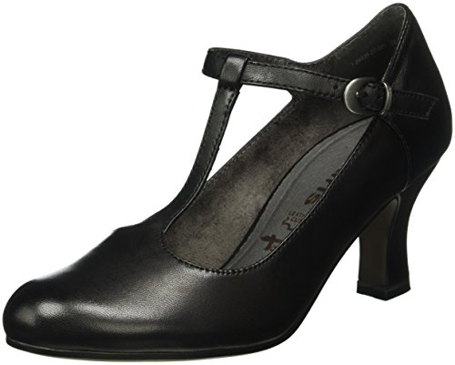 Tamaris Damen 24435 T-Spangen Pumps, Schwarz (Black 001), 40 EU