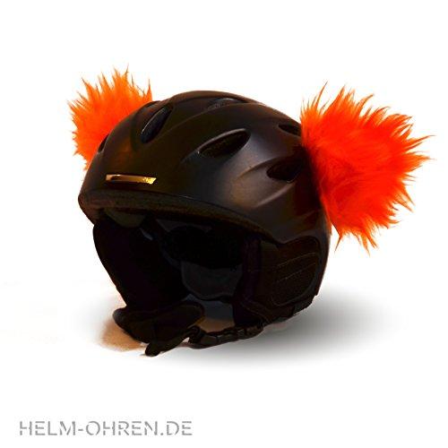 Helm-Ohren für den Skihelm, Snowboardhelm, Kinder-helm, Kinder-Skihelm, Motorradhelm oder Fahrradhelm - verwandelt den Helm in ein EINZELSTÜCK - der HINGUCKER - für Kinder und Erwachsene HELMDEKO (Orange)