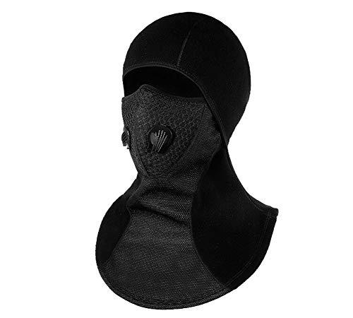 YiLianDaD Sturmhaube Balaclava Winter Sturmmaske Herren Damen Motorrad Maske Skimaske Kopfschutz Gesichtsschutz für Ski Wintersport Schwarz