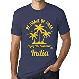 Photo de Homme T Shirt Graphique Imprimé Vintage Tee be Brave & Free Enjoy The Summer India Denim par One in the City