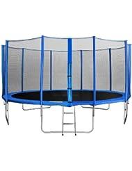 SixBros. Sixjump 4,60 M Trampoline de jardin bleu Certifié par Intertek / GS - Filet de sécurité - Échelle - Housse de protection - CST460/L1790