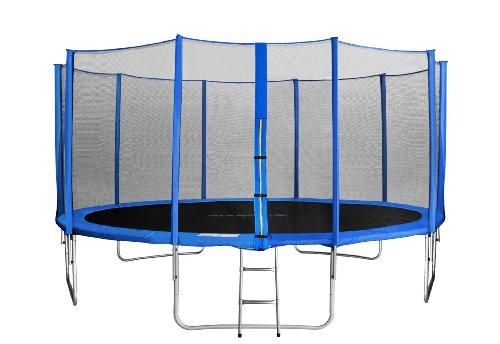 SixBros. Sixjump 4,60 M Trampoline de Jardin Bleu - Filet de sécurité - Échelle - Housse de Protection TB460/1790