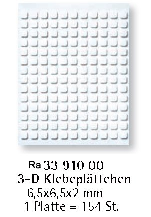 Rayher Hobby 3391000 3D-Klebeplättchen, 6,5 x 6,5 x 2 mm, Platte à 154 Klebepads, quadratisch, beidseitig klebend