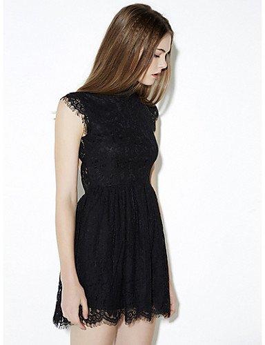 PU&PU Robe Aux femmes Gaine Simple,Couleur Pleine Col Arrondi Au dessus du genou Polyester BLACK-2XL