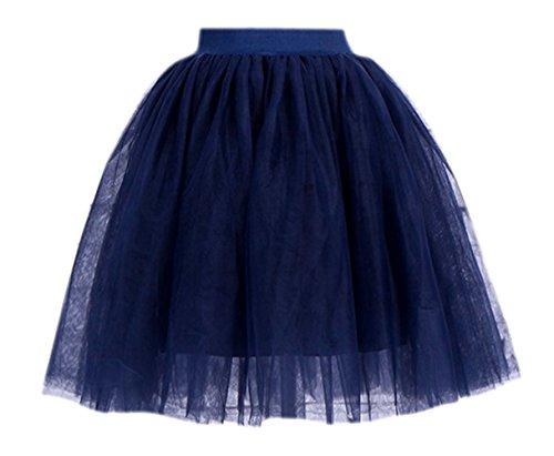 Schichten 55cm Tüllrock Knielang Tütü Tüll Rock Kleid Reifrock Glockenrock One Size Navy (Die Besten Halloween-outfits Tumblr)