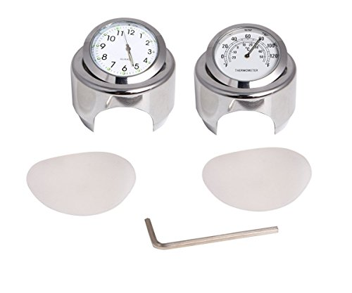Ictronix Universal Motorraduhr Uhr Uhren Motorrad Lenker Thermometer Temp 25/22M Weiß Aluminium 7/8