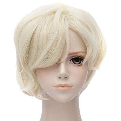 QIYUN.Z Touken Ranbu Online Blasses Gold Lockige Wellenförmige Kurze Party Cosplay Blonde Dame Perücke