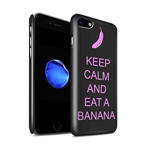 STUFF4 Glanz Snap-On Hülle / Case für Apple iPhone 8 / Schnurrbart/Lila Muster / Bleib Ruhig Kollektion Essen eine Banane/Rosa