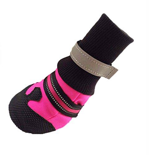 Ukallaite Essential für Tauchen 4PCS Winter Herbst Pet Socken Schuhe Weiche Neopren Anti-Rutsch Schutzstiefel für Hunde-Rose Rot XL S Rosarot - Regen-socken Hund