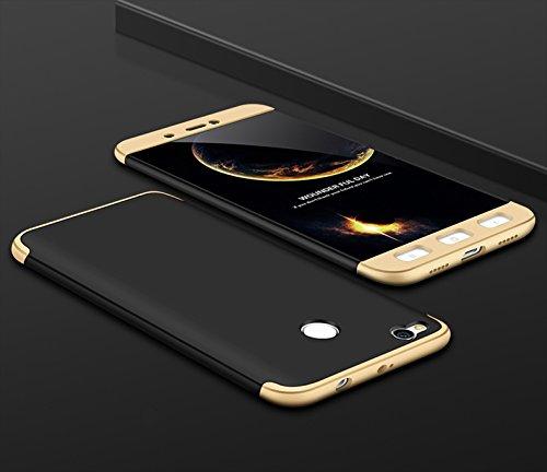 Ququcheng Xiaomi Redmi 4X Hülle,Xiaomi Redmi 4X Schutzhülle[Mit Displayschutz] 3 in 1 Ultra dünn Hard Shell Case 360 Grad Schutz Tasche Etui Handyhülle Cover für Xiaomi Redmi 4X-Gold Schwarz