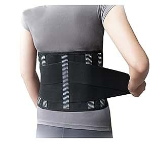 'Siwei® sostegno lombare lombare di lusso Addome Velcro Dimensione 8,3con quattro piastre di acciaio, nero, L