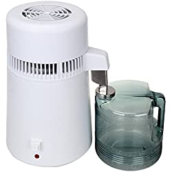 Euroeshop 4L Filtro Purificador Destilador de Agua de Acero Inoxidable para Cocina Oficina Interior de Acero Inoxidable Tanque Destilador Depurador de Agua 750 W