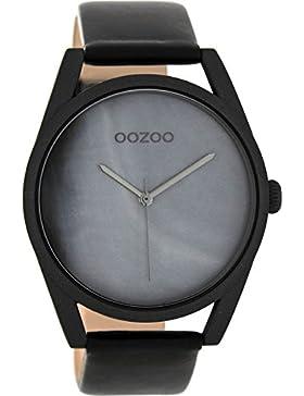 Oozoo Damenuhr mit Lederband 42 MM Perlmutt/Schwarz C8399