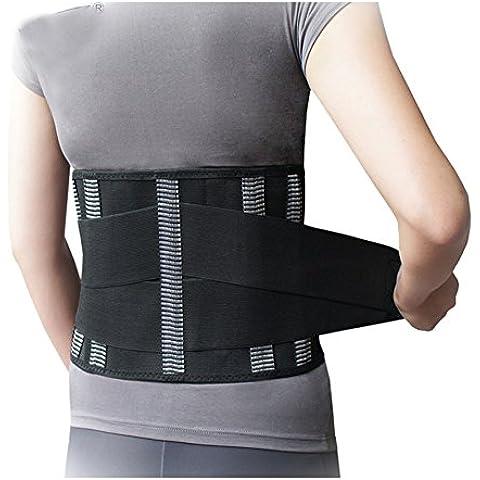 'Siwei® sostegno lombare lombare di lusso Addome Velcro Dimensione 8,3con quattro piastre di acciaio, nero,