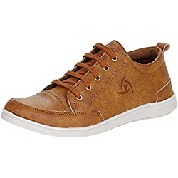 Kraasa Men's Tan Synthetic Leather Sneakers- 8