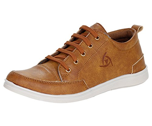 Kraasa Men's Tan Faux Leather Casual Shoes (Tsz105-8)