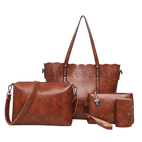 XZDCDJ UmhängeTaschen Damen Gepäck Organizer4 Stücke Frauen Beiläufige Aushöhlen Griff Tasche Umhängetasche Karte Paket Crossbody Tasche -