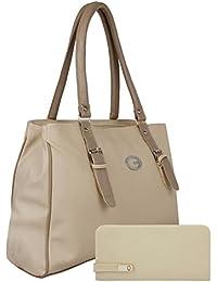 Glory Fashion Women's and girls Stylish Handbag and Wallet Clutch Combo(Cream)