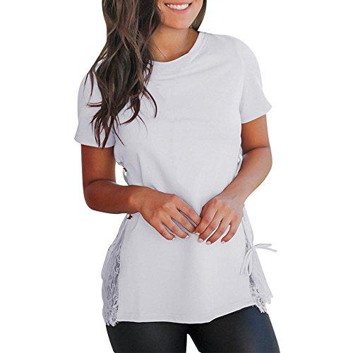 T Shirt Kurzarm LäSsiges Oberteil Frauen Solid Short Sleeve Spitzennaht Bandage O Neck Tops Bluse (S, Weiß) (Pastell-gelbes Band)