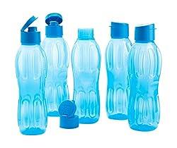 Signoraware Fliptop Aqua Plastic Bottle Set, Set of 5, 1 Litre, Blue