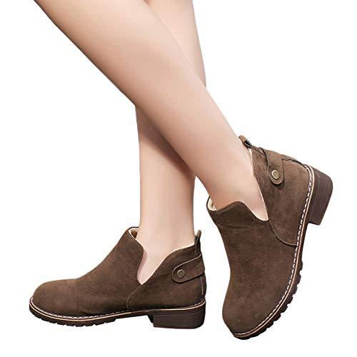 OSYARD Damen Slip On Kurze Boots Stiefeletten Winter Warm Baumwolle Flandell, Frauen Runde Kappe Vintage Shoes Schuhe Flache Booties Wildleder Einfarbig Martin Stiefel(230/37, Kaffee)
