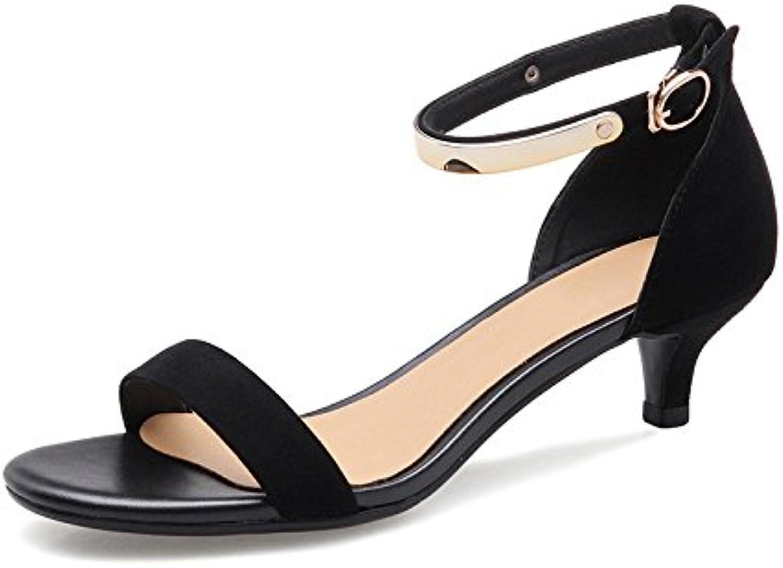 Real De Cuero Sandalias, Edicion De Verano, Moda, Color Sólido, Una Palabra Con Botones,Black,Eu34Cn35