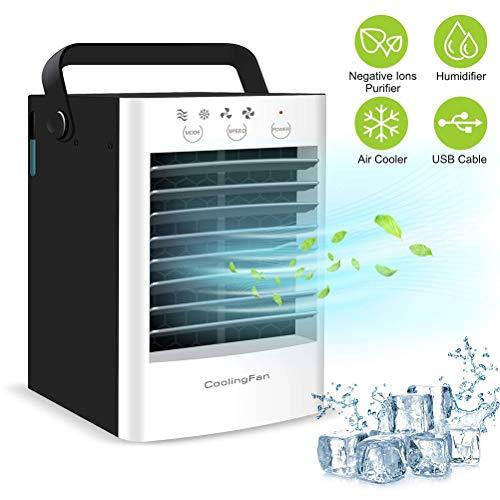 Mini Luftkühler mit Wasserkühlung USB Ventilator Luftbefeuchter Luftreiniger 2-Gang-Modus Leise, mit 350ml Wassertank Kann Eis Ätherisches Öl Hinzufügen und Insektenschutzmittel für Hause Büro (Filter öl 997)