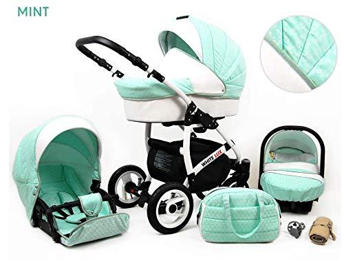 Kinderwagen White Lux,3 in 1 -Set Wanne Buggy Babyschale Autositz mit Zubehör Mint