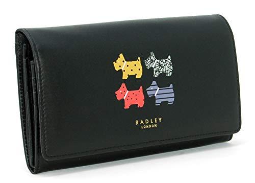 RADLEY Large Flapover Matinee Geldbörse 'Quad Dog' aus schwarz Leder - Matinee-geldbörse