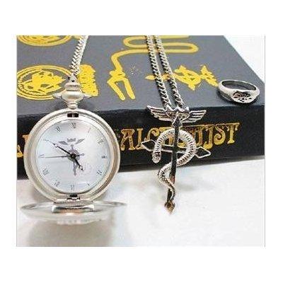 Laie Full Metal Alchemist Taschenuhr Halskette Ring Edward Elric Cosplay Anime Geschenk