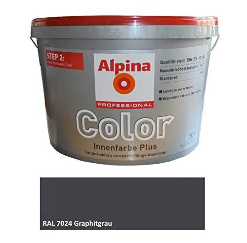 Alpina Wandfarbe RAL 7024 GRAPHITGRAU Matt, fertig abgetönt, besonders strapazierfähige Anstriche 10 L.