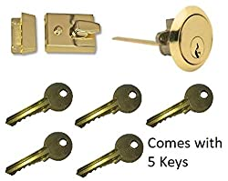 Dead Locking 40mm Night Latch High Quality Front Door Lock Rim Cylinder Assisted Nightlatch for External Doors, Complete with Rim Cylinder and 5 Keys (Brass)