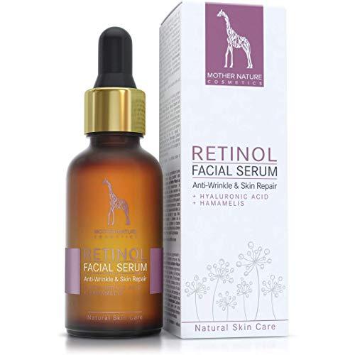 Retinol Serum hochdosiert - 2,5% Retinol Anti-Aging Formel mit Hyaluronsäure und Hamamelis - VEGAN - 30 ml made in Germany - feuchtigkeitsspendende Gesichtspflege gegen Falten & Altersflecken -