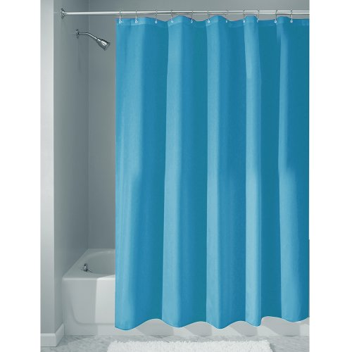 InterDesign Mildew-Free Water-Repellent Fabric Shower Curtain, 183 x 183 cm - Azure Blue