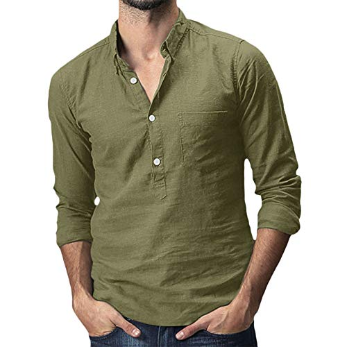 Beonzale Herren Baggy Cotton Mode Für Männer Casual Button Hawaii Printlinen Solide Pocket Langarm Umlegekragen T-Shirts Tops
