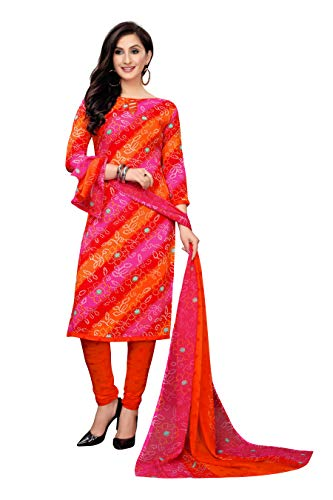 Oomph! Women's Unstitched Georgette Salwar Suit Dupatta Material   Tangerine Orange