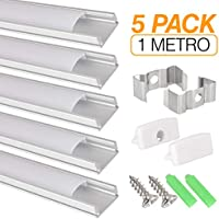Perfil de aluminio para tira LED, Pack de 5 canaletas de 1 metro para LED con cubierta/tapa blanca translucida protectora. Incluido todo necesario para montaje.