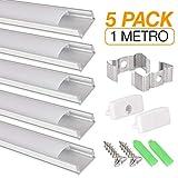 Aluprofil für LED Streifen, 5er Pack (5 x 1 Meter) für LED Streifen mit Abdeckung/Abdeckung weiß lichtdurchlässig Inklusive aller notwendigen Montage.