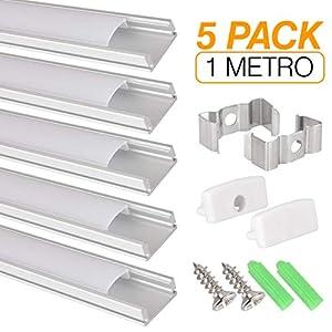 perfil: Perfil de aluminio para tira LED, Pack de 5 canaletas de 1 metro para LED con cu...