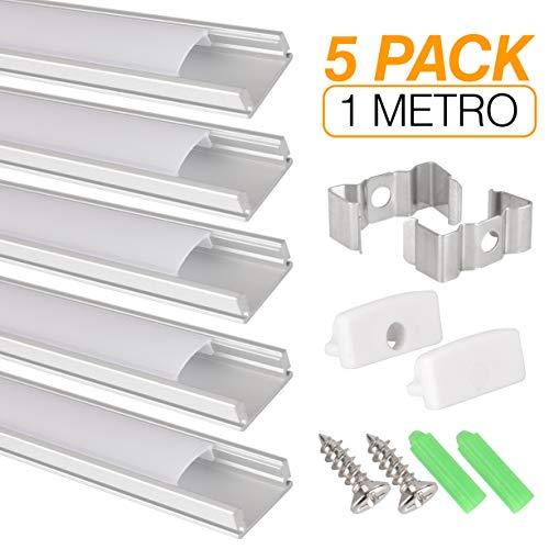 Aluprofil für LED Streifen, 5er Pack (5 x 1 Meter) für LED Streifen mit Abdeckung/Abdeckung weiß lichtdurchlässig Inklusive aller notwendigen Montage. - Led-aluminium-montage-kanal