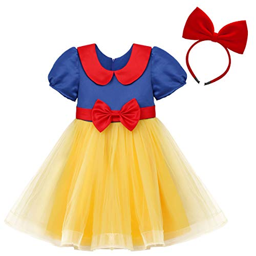 FYMNSI Mädchen Schneewittchen Kostüm Kleid Kinder Baby Grimms Märchen Prinzessin Snow White Cosplay Fasching Karneval Verkleidung Tütü Tüllkleid Geburtstag Partykleid Festkleid mit Stirnband Set 2-3 (Snow White Dress Up Kostüm)