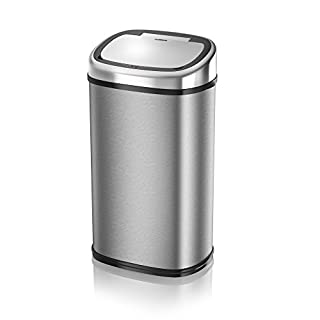 Tower Square Sensor Bin with Infrared Technology, 58 Litre, Silver