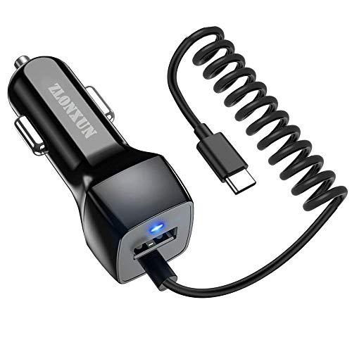 Caricabatteria da Auto con Cavo di Tipo C per Samsung Galaxy S10e/S10+/S9/S8//Note 8/Note 9,Google Pixel,Nexus 6P 5X,HTC 10, LG G6+,Huawei P30/Mate 20/P9/P9 Plus