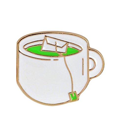 Broschen für Frauen Kleidung Dekoration Schmuck Fashion Green Tea Cup Kostüm Zubehör Brosche Button Abzeichen ()
