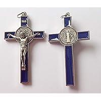 San Benito Crucifijo. 7,5cm azul esmalte Inlay Cruz de San Benito.